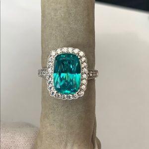 925 Plata/Silver ring with Aqua  Zirconia stone